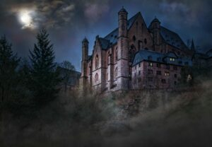 haunted castle and reptilian humanoid
